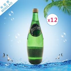 原装饮料含气天然矿泉水 广州原味巴黎水玻璃瓶750ml*12批发价格
