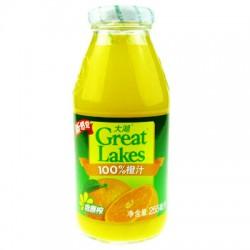 100%纯饮料 大湖 饮料 果汁——255ml装 橙汁 24瓶/箱