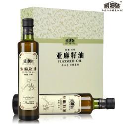 高端礼盒家油站物理冷初榨亚麻籽油500ml*2瓶装高端食用油好礼物