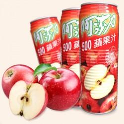 台湾进口 阿莎力苹果汁水蜜桃汁 两种口味纯正爽口 500ml*24听/箱