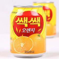 韩国进口 lotte乐天橙汁果粒饮料 原味果肉果汁饮品 238ml*12瓶